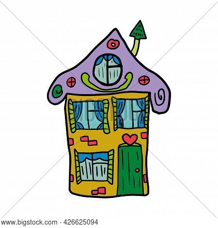 Cute Hand Drawn Doodle House Isolated On White Background. Sketch Of A Building In Childlike Style.