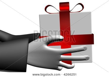 Close Up Gift Box With Red Ribbon And Bow