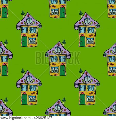 Cute Hand Drawn Doodle House Seamless Pattern. Town Background. Sketch Of A Building In Childlike St