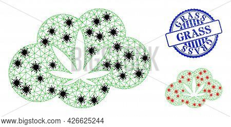 Mesh Polygonal Cannabis Smoke Icons Illustration With Infection Style, And Rubber Blue Round Grass S