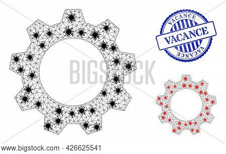 Mesh Polygonal Gearwheel Symbols Illustration With Lockdown Style, And Scratched Blue Round Vacance