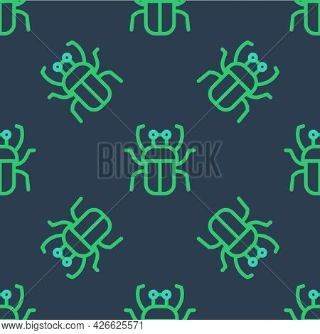 Line Stink Bug Icon Isolated Seamless Pattern On Blue Background. Vector