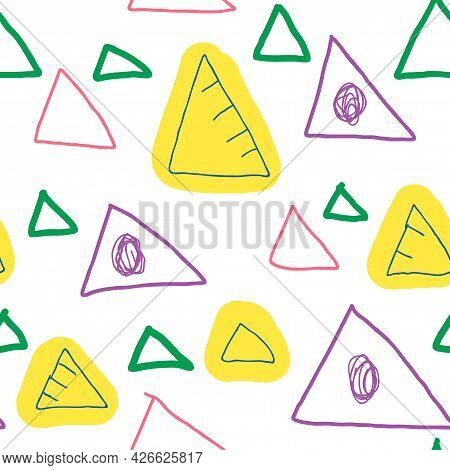 Doodle Seamless Pattern With Triangles On White Background. Hand Drawn Childlike Style Background. I
