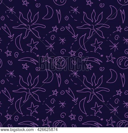 Cute Doodle Celestial Seamless Pattern With Stars, Sun, Moon, Swirls, Planet. Cosmic Magical Infinit