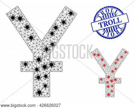 Mesh Polygonal Yuan Currency Icons Illustration In Lockdown Style, And Grunge Blue Round Troll Stamp