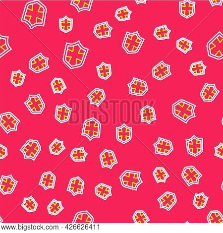 Line Shield Icon Isolated Seamless Pattern On Red Background. Guard Sign. Security, Safety, Protecti