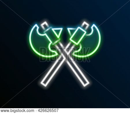 Glowing Neon Line Crossed Medieval Axes Icon Isolated On Black Background. Battle Axe, Executioner A
