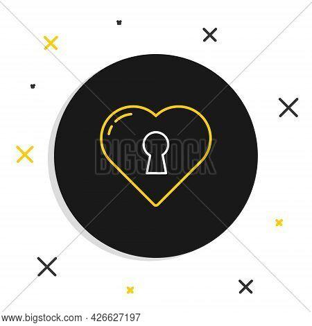 Line Heart With Keyhole Icon Isolated On White Background. Locked Heart. Love Symbol And Keyhole Sig