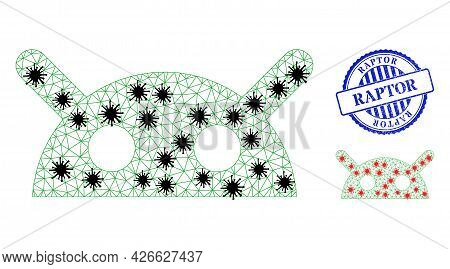 Mesh Polygonal Robot Head Symbols Illustration With Lockdown Style, And Distress Blue Round Raptor S