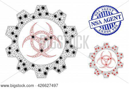 Mesh Polygonal Toxic Industry Icons Illustration With Lockdown Style, And Rubber Blue Round Nsa Agen