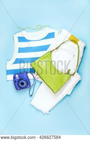 Summer Fashion Flatlay With Top And Bag