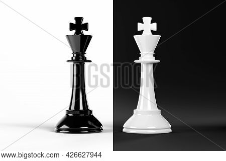 Facing Chess Kinks Isolated On Black And White Background. 3d Illustration.