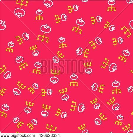 Line Genetically Modified Food Icon Isolated Seamless Pattern On Red Background. Gmo Fruit. Vector