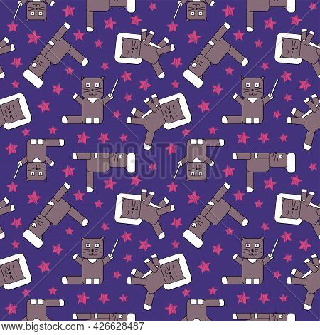 Seamless Childish Pattern With Cubed Cats And Satrs, Cat With Magic Wand, Cat Lies On Pillow And Sle