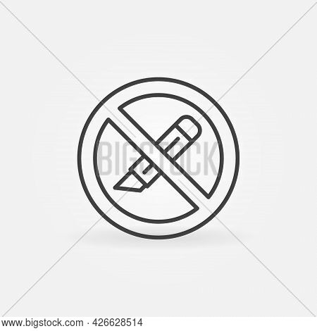 Do Not Use Cutter Or Office Knife Vector Concept Line Icon