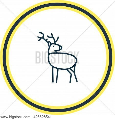 Illustration Of Deer Icon Line. Beautiful Zoo Element Also Can Be Used As Antler Icon Element.
