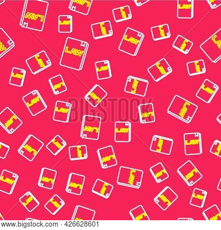 Line Law Book Icon Isolated Seamless Pattern On Red Background. Legal Judge Book. Judgment Concept.