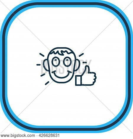 Illustration Of Satisfied Icon Line. Beautiful Emoticon Element Also Can Be Used As Approval Icon El