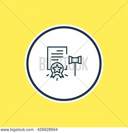 Illustration Of Legal Documents Icon Line. Beautiful Legal Element Also Can Be Used As Report Icon E