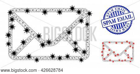 Mesh Polygonal Mail Envelope Symbols Illustration In Infection Style, And Grunge Blue Round Spam Ema