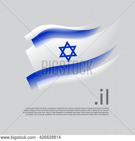 Israel Flag Watercolor. Stripes Colors Of The Israeli Flag On A White Background. Vector Stylized De