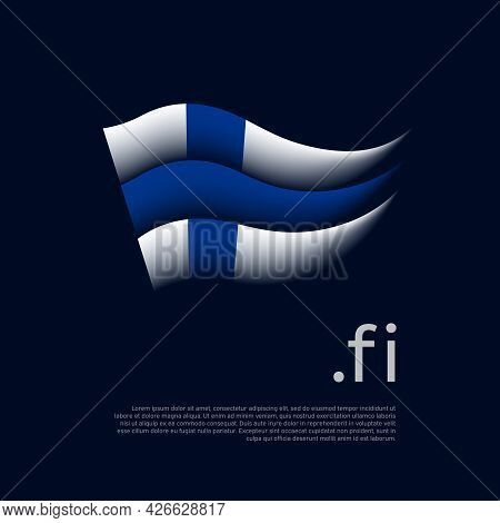 Finland Flag. Stripes Colors Of The Finnish Flag On A Dark Background. Vector Stylized Design Nation