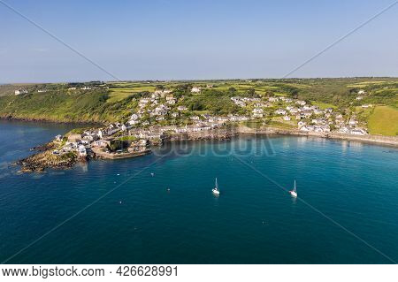 Coverack, Cornwall, Uk - June 29, 2021.  Aerial Seascape View Of The Picturesque Bay And Fishing Vil