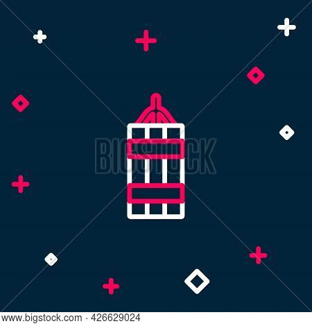 Line Detonate Dynamite Bomb Stick Icon Isolated On Blue Background. Time Bomb - Explosion Danger Con