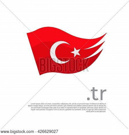Turkey Flag. Colored Stripes Turkish Flag On A White Background. Vector Design Of National Poster Wi