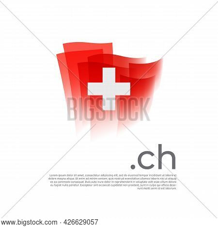 Switzerland Flag. Vector Stylized Design National Poster On A White Background. Swiss Flag Painted W