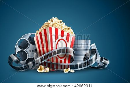 movie film reel and popcorn vector illustration on the blue background EPS10. Transparent objects used for shadows and lights drawing. Vector Illustration.