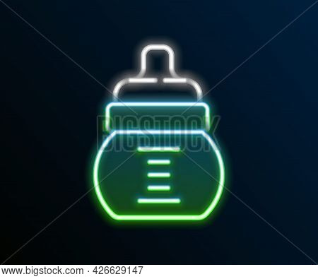 Glowing Neon Line Baby Bottle Icon Isolated On Black Background. Feeding Bottle Icon. Milk Bottle Si