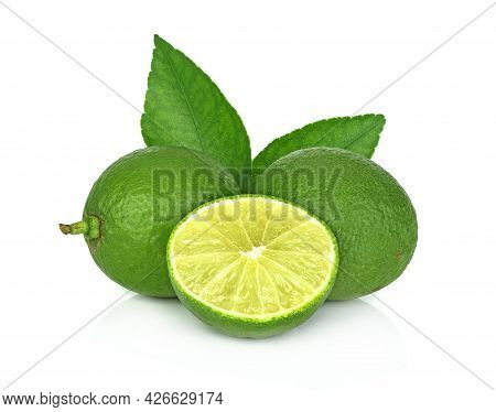 A Lamom ,lime Isolated On White Background