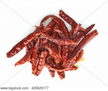 Top View Of Dried Chili Isolated On White Background