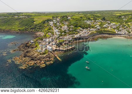 Coverack, Cornwall, Uk - June 30, 2021.  Aerial View Of The Picturesque Harbour And Village Of Cover