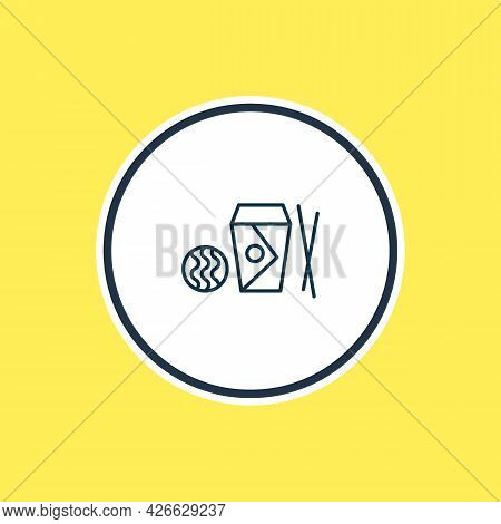 Illustration Of Take Away Chinese Food Icon Line. Beautiful Snacks Element Also Can Be Used As Noodl