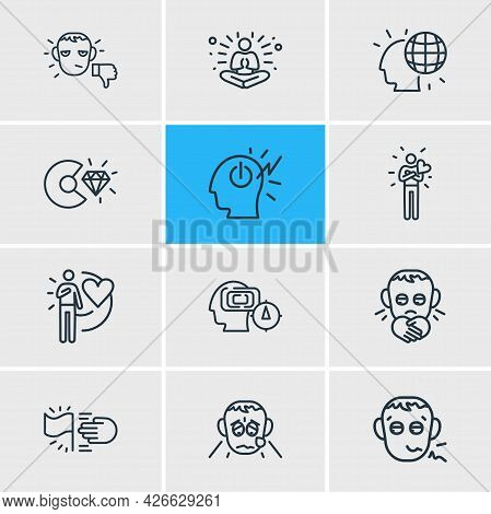 Illustration Of 12 Emotions Icons Line Style. Editable Set Of Meditation, Goals, Grieving And Other