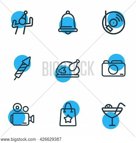 Illustration Of 9 Event Icons Line Style. Editable Set Of Video Camera, Dancing Man, Gift Bag And Ot