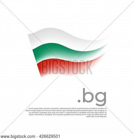 Bulgaria flag. Stripes colors of the bulgarian flag on a white background. Vector design national poster with bg domain, place for text. Brush strokes. State patriotic banner of bulgaria, cover