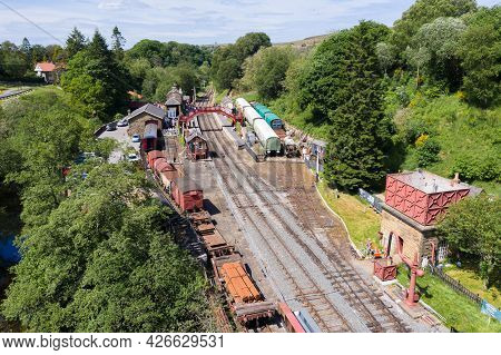 Goathland, Uk - June 15, 2021.  An Aerial View Of The Popular Tourist Destination Of Goathland Train