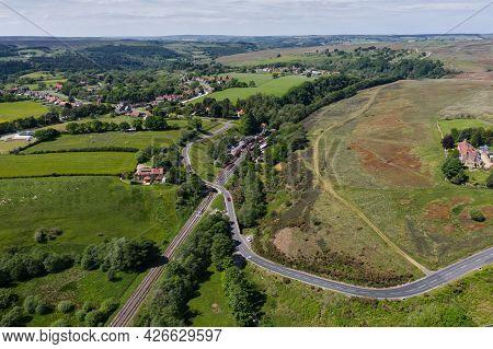 Goathland, Uk - June 15, 2021.  An Aerial View Of The Popular Tourist Destination Of Goathland Villa