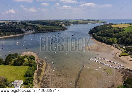 Helford, Cornwall, Uk - June 23, 2021.  Aerial Landscape Of The Helford Passage And Estuary In Cornw