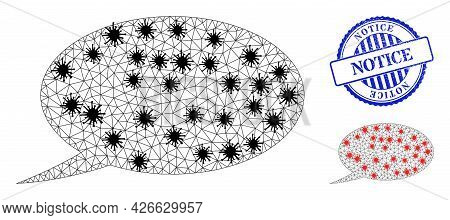 Mesh Polygonal Chat Message Symbols Illustration In Outbreak Style, And Rubber Blue Round Notice Sea