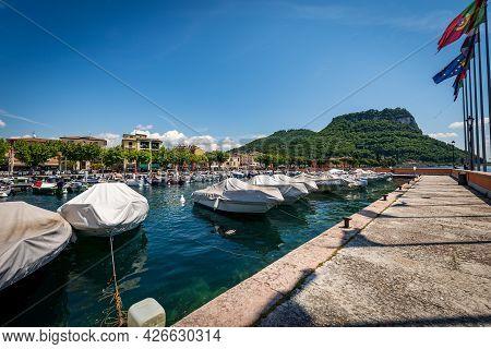 Port Of The Small Town Of Garda, Tourist Resort On The Coast Of Lake Garda (lago Di Garda). On The H