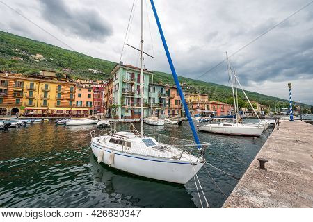 Port Of The Small Village Of Castelletto Di Brenzone, Tourist Resort On The Coast Of Lake Garda (lag