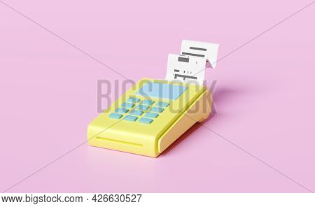 Yellow Payment Machine Or Pos Terminal, Electronic Bill Payment And Credit Card With Invoce Or Paper
