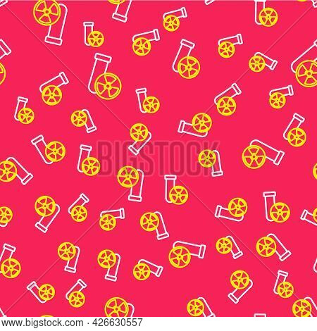 Line Laboratory Chemical Beaker With Toxic Liquid Icon Isolated Seamless Pattern On Red Background.