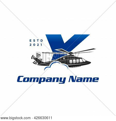 Modern And Stylish Illustration Logo Design Initial Y Helicopter.