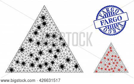Mesh Polygonal Triangle Symbols Illustration In Infection Style, And Rubber Blue Round Fargo Seal. C