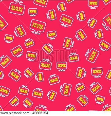 Line Xyz Coordinate System Icon Isolated Seamless Pattern On Red Background. Xyz Axis For Graph Stat
